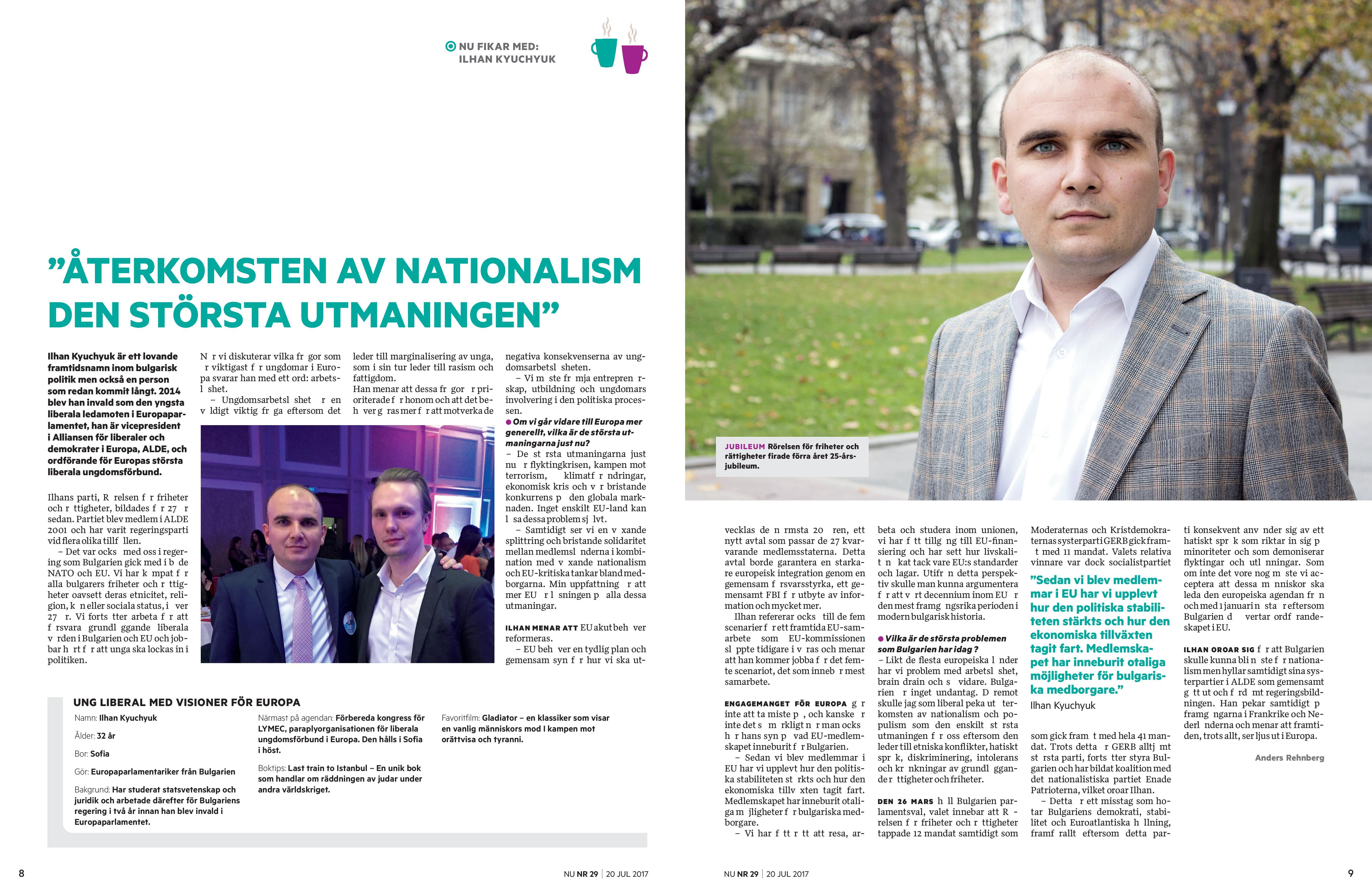 Илхан Кючюк пред шведското издание NU: Засилването на национализма и популизма е най-голямото предизвикателство пред Европа